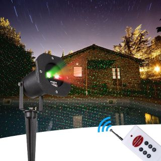 Static Red Green Starry Show LED Projector Light, IP65 Waterproof, for Holidays, Parties, and Landscape Decoration (Aluminum)