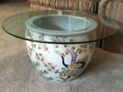 Porcelain Hand Painted Fish Bowl w/glass top