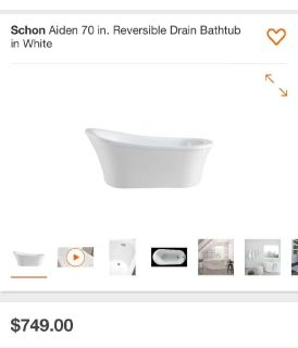 "Schon Aiden Reversable Bathtub 70"" New in box"