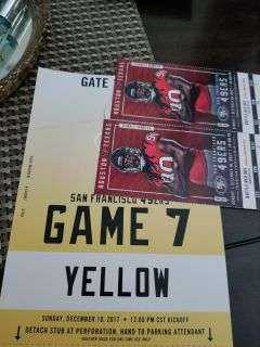 Texans tickets and parking pass