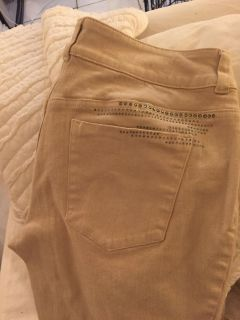 So slimming by Chico s Beige jeans with rhinestones