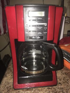 Black and red Mr.Coffee maker