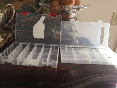 Two Clear Plastic Divided Boxes Perfect For Small Craft Items such as Beads, Etc