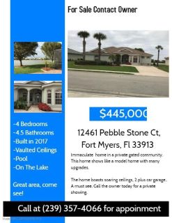 Florida Home Pool Lake Gated Community