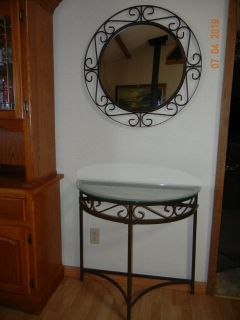 Wrought Iron Entry Table & Matching Mirror - Excellent Condition