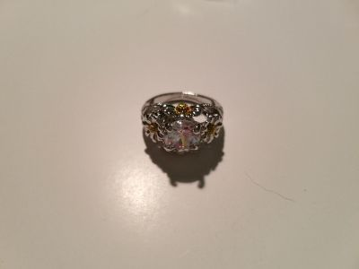 Yellow & White Topaz Sterling Silver Floral Ring - Size 7