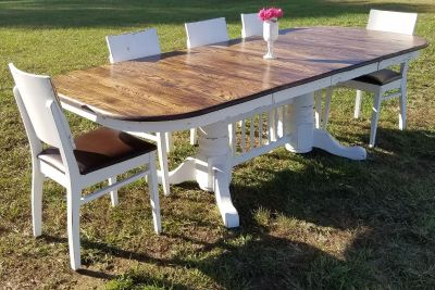 8-SEATER DARK STAINED TOP DINING TABLE (CHAIRS SOLD SEPARATELY)