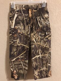 GAME WINNER Like New Camouflage Hunting Pants With Pockets- Has Adjustable Elastic. Size Youth 4