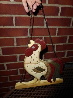 Wood Rooster on Perch to hang