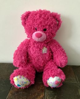 Pink Shaggy 16 Build a Bear Plush BFF, Friends Count on feet. Has a Silver Star with colors on heart