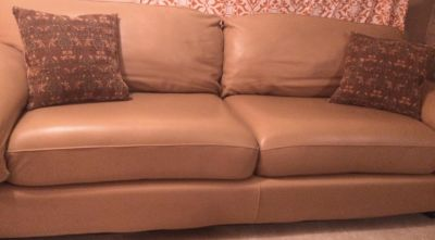 8' beige leather sofa, excellent condition