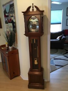 Hermle Black Forest Grandfather Clock, won on Wheel of Fortune, needs new movement.