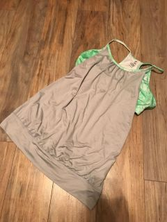 Gray and limegreen workout tank with built-in bra