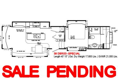 """2019 DRV Mobile Suites<br>39DBRS3-SPECIAL<br>Fifth Wheel RV<br>(SPECIAL: """"Pantry"""" and<br>""""Closet with Whirlpool Residential Washer &<br>220V Residential Dryer""""<br>in place of Half Bath)"""