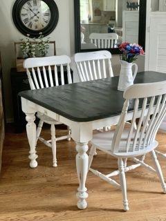 Farm-house kitchen table and 4 large chairs