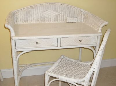 Vintage Wicker Desk with Chair