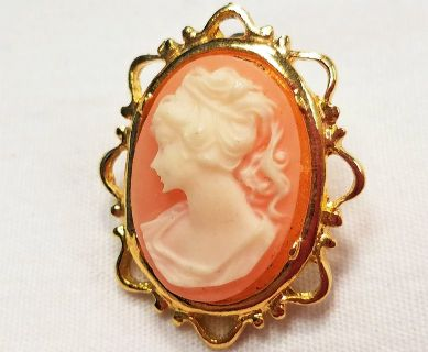 Vintage Sarah Coventry Coral Cameo Orange Carved Gold Tone Post Earrings
