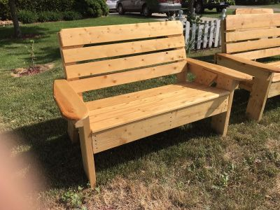 Handcrafted wooden outdoor furniture bench. SEASONAL CLEARANCE WHILE SUPPLIES LAST.