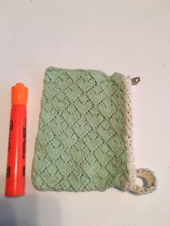 Hand Knitted, Zippered Vintage Pouch EUC $1
