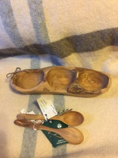 Brand new olive wood bowl and spoons