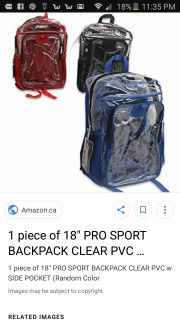 Clear prosprort backpacks 2 available red, black