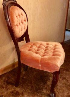 Peach velvet side chair