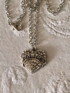 New Police Crystal Heart Necklace