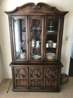 Antique real wood French Provincial China Cabinet