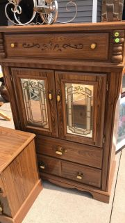 All wood dresser/armoire with matching nightstand