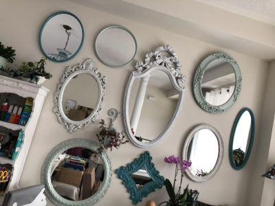 Wall of 9 vintage mirrors - must take all