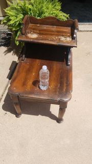Antique solid wood side table