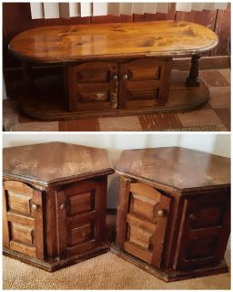 Vintage coffee table and 2 end tables