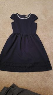 Classy navy dress with pearl neckline size 10/12. Porch pickup