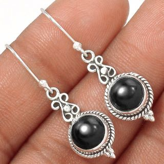 "New - Black Onyx 925 Sterling Silver 1 3/8"" Earrings"