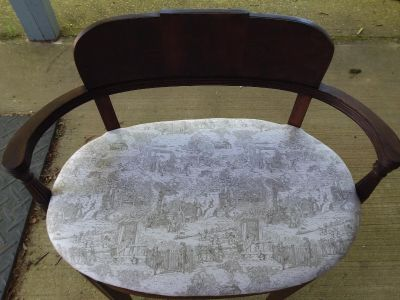 Antique settee with toile seat