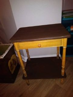 Side Table Drawer whatnot shelf Vintage antique look Entry Way table