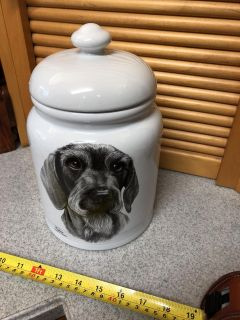 Beautiful dog treat holder ceramic with an awesome seal