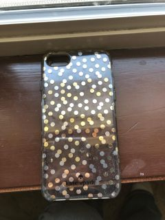 Kate spade iPhone 7 case. Silver and gold dots.