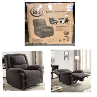 Serta Push-Button Power Recliner with Deep Body Cushions, Ultra Comfortable Reclining Chair Gray