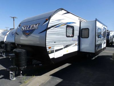 2018 Forest River SALEM 26 TBUD, 1 SLIDE, REAR TRIPLE BUNKS, POWER PACKAGE, FRONT QUEEN BED, SOFA/SLEEPER, U-SHAPED DINETTE, SLEEPS 8