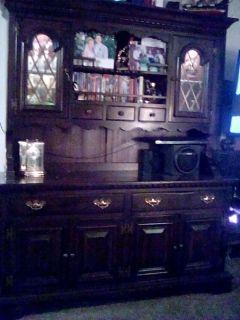 Walnut China Hutch -Table w/pad & 2 leafs 6 chairs 4 Barstools