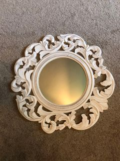 Beautiful white washed wooded mirror. 24 inch wide