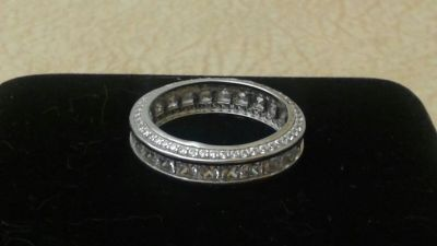 Sterling Silver Princess-cut Micropave CZ Eternity Band Ring