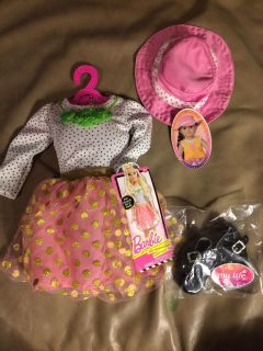 Beautiful--American Girl / Barbie dress, shoes and hat.