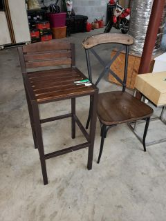 Metal and wood chairs