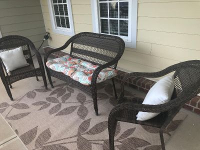 3 Piece Wicker Patio Furniture with Rug