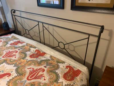 Queen sized wrought iron headboard and footboard (footboard not pictured)
