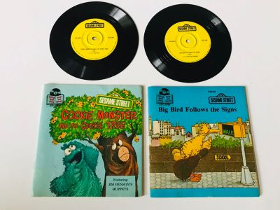 Vintage Sesame Street read along books and records