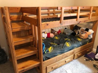 Solid wood twin bunk