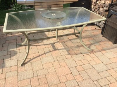 Patio six person glass top table